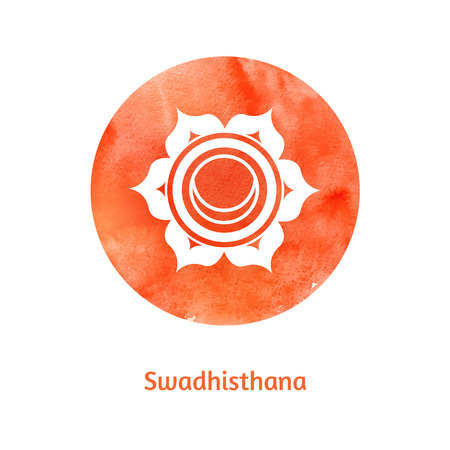 sacred lotus: Vector watercolor illustration of Swadhisthana chakra.