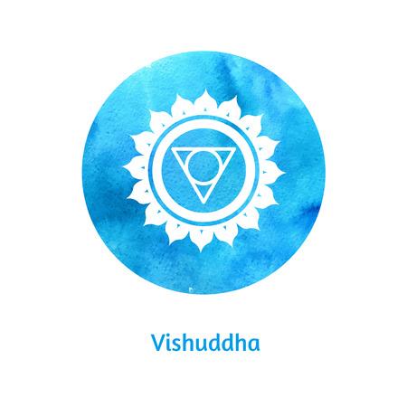 Vector watercolor illustration of Vishuddha chakra. Vector