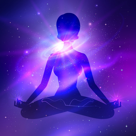 fluorescence: Outer space and female silhouette. Meditation concept.