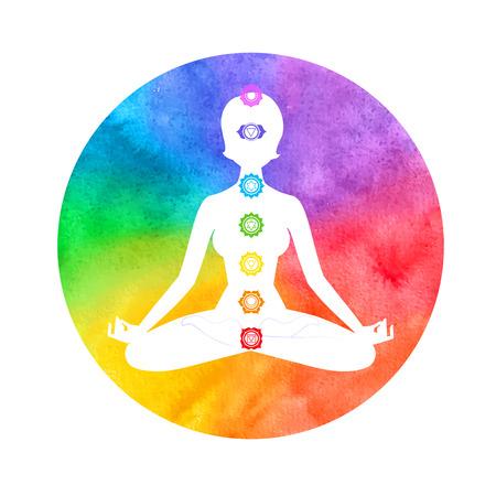 Watercolor illustration of meditation, aura and chakras. Vectores