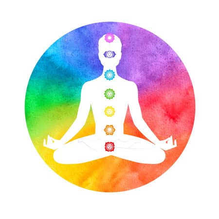 spiritual background: Watercolor illustration of meditation, aura and chakras. Illustration