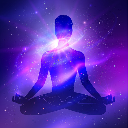 energy healing: Outer space and male silhouette. Meditation concept.