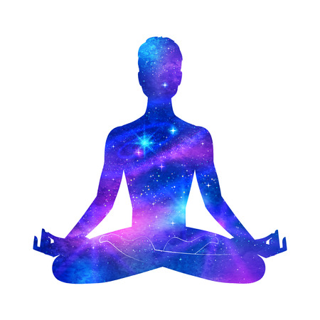 Male silhouette with outer space. Meditation concept.