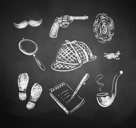chalk board background: Hand drawn vector illustration of  chalked detective set. Illustration
