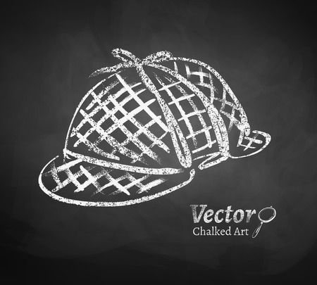 inspector: Chalkboard drawing of detective hat.