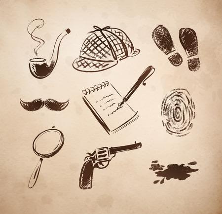detective: Detective sketch icons retro style vector set. Illustration