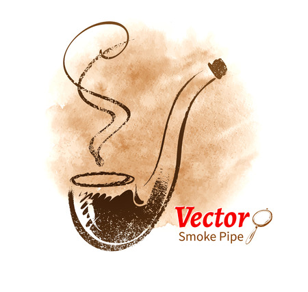 pijp roken: Hand getrokken vector schets van roken pijp.
