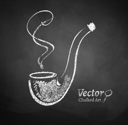 pipe smoking: Chalkboard drawing of smoking pipe. Illustration