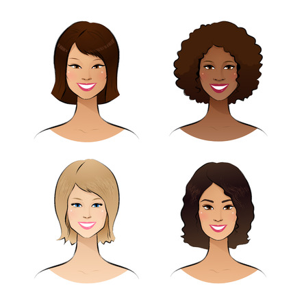 african culture: Color vector sketch of human race women.
