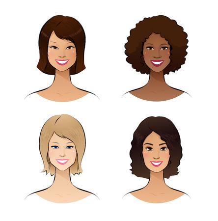 color skin brown: Color vector sketch of human race women.