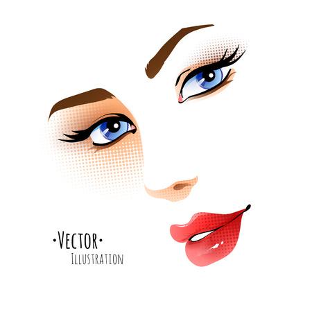 Vector illustratie van vrouwelijk gezicht.