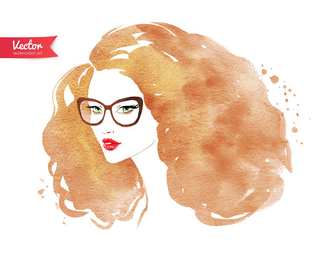 blonde curly hair: Vector illustration of young woman wearing glasses.