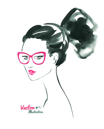 make up model: Female portrait with modern hairstyle. Illustration