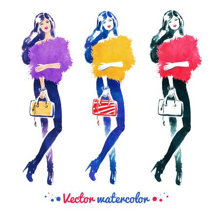 Watercolor illustration set of fashion model with bag. Ilustração