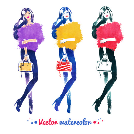 Watercolor illustration set of fashion model with bag. Vector