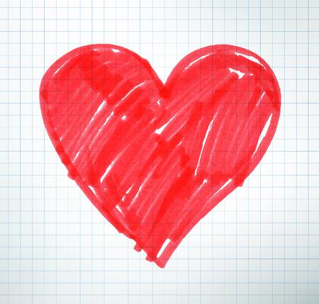 valentijn hart: Vilt pentekening van Valentine hart op schoolschrift papier achtergrond.