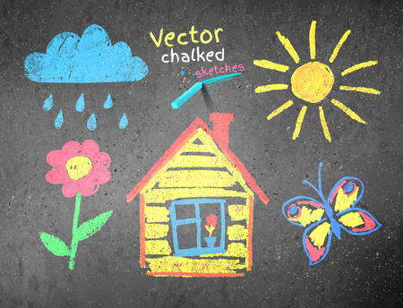 house drawing: Chalked kids drawing on asphalt background.
