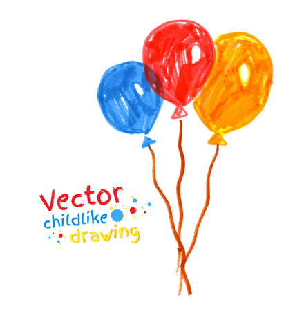 ballon: Felt pen childlike drawing of balloons.