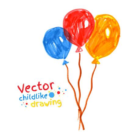 crayon drawing: Felt pen childlike drawing of balloons.