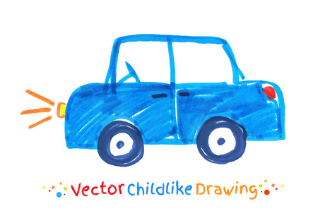 crayon: Felt pen childlike drawing of vehicle. Vector illustration. isolated.