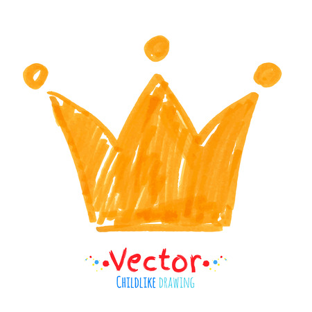 corona reina: Vector rotulador dibujo infantil de la corona.
