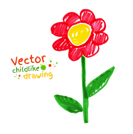 outline drawing: Childlike drawing of red flower.
