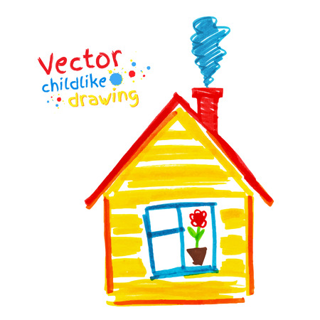 yellow house: Vector childlike drawing of house. Illustration