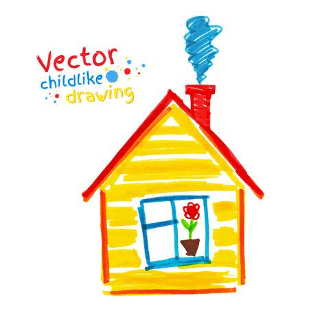 rotulador: Vector infantil de dibujo de la casa.