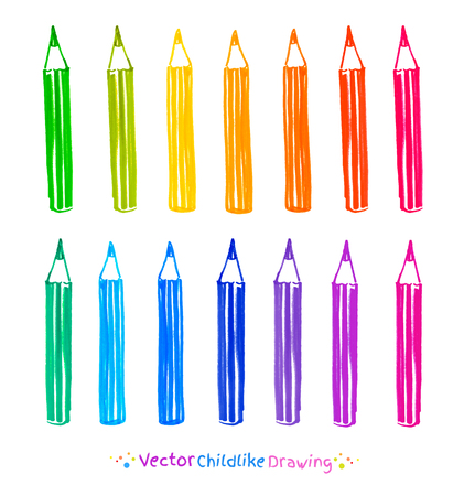 childlike: Colorful set of pencils. Childlike felt pen drawing.