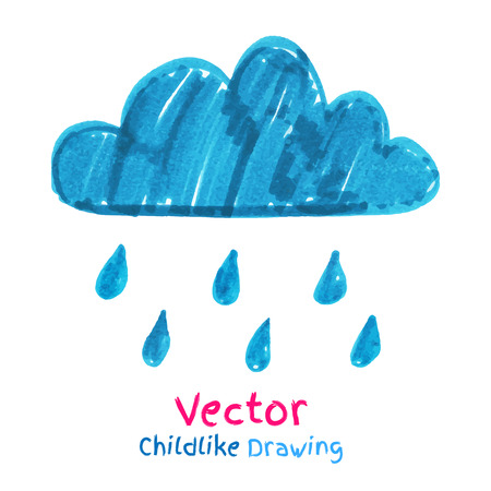 childlike: Childlike drawing of rainy cloud.