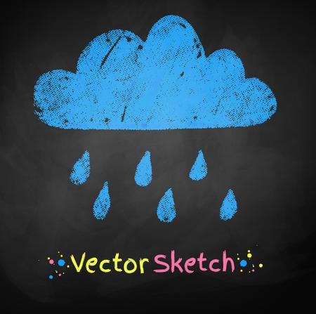 scarpbook: Chalked childlike drawing of rainy cloud.