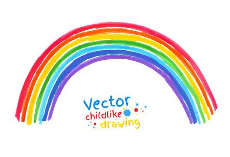 Viltstift kinderlijke tekening van de regenboog. Stock Illustratie