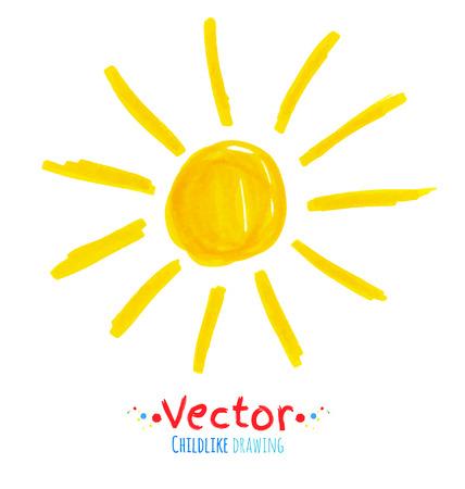 Vector felt pen childlike drawing of sun. Illustration