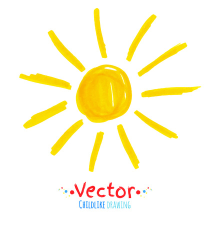 childlike: Vector felt pen childlike drawing of sun. Illustration