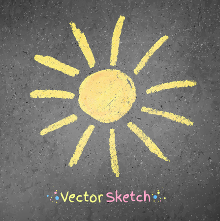 Chalk drawing of sun on asphalt background. Vector illustration. Vector