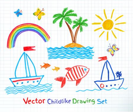 Summer seaside set. Felt pen childlike drawing.