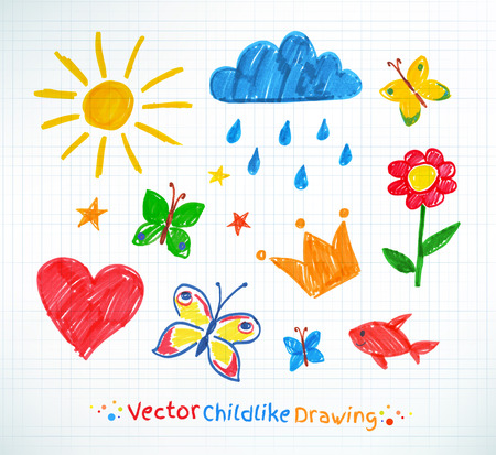 kids drawing: Summer felt pen child drawing on checkered school notebook paper.
