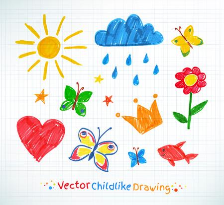 dessin: Été feutre enfant dessin sur papier de cahier d'écolier à damier.