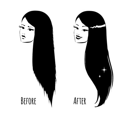 long straight hair: Hair before and after. Hair care concept.