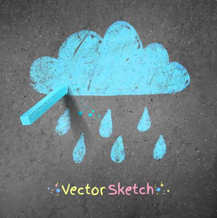 Rainy cloud drawn on asphalt background. Peace of blue chalk. Vector illustration. Vector