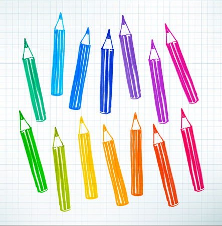 childlike: Felt pen childlike drawing of colored pencils on checkered school notebook paper. Illustration