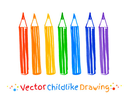 pencil set: Childlike felt pen drawing of pencils. Illustration