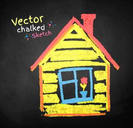 childlike: Chalked childlike drawing of house. Illustration