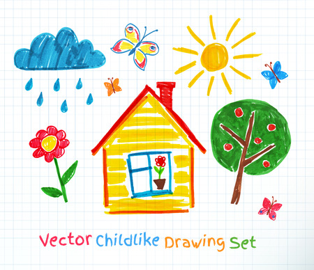 house drawing: Childlike drawing on school notebook paper. Illustration