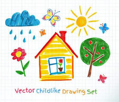 Childlike drawing on school notebook paper. Illustration