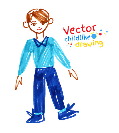 childlike: Childlike felt pen drawing of boy. Illustration