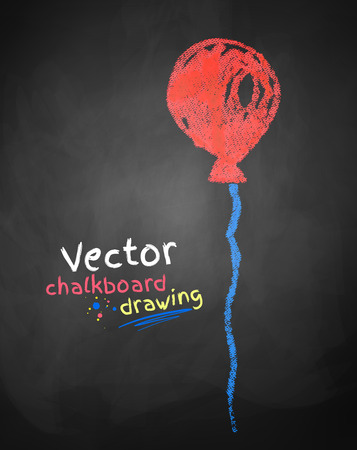 surprise party: Color chalk drawing of balloon. Illustration