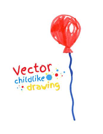 balloon vector: Vector felt pen childlike drawing of balloon. Illustration