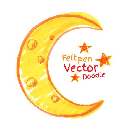 luna caricatura: Felt niños pluma de dibujo de media luna. Vectores