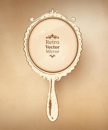 손의 벡터 일러스트 레이 션 빈티지 거울을 그려.